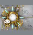 steampunk round banner with pressure gauge vector image