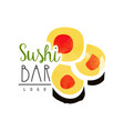 sushi bar logo template japanese food label vector image vector image