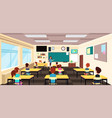 teacher at blackboard and children at school desks vector image vector image