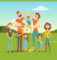 tired parents with many children on nature vector image vector image