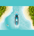 top view cruise ship in summer landscape vector image vector image