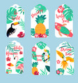 tropical hawaiian tags toucan flamingopineapple vector image vector image