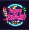 we wish you a very happy birthday neon sign stamp vector image