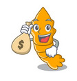 with money bag shrimps on a character cartoon vector image vector image
