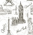 Seamless pattern of architectural landmarks vector image