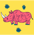 cartoon mascot rhinoceros isolated vector image