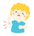 crying boy with wounds from accident vector image