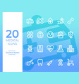 20 medical icons medical symbol simple outline vector image vector image
