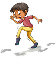 A boy following the footprints vector image