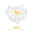 beer thin line icons in heart shape design vector image
