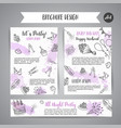 birthday party doodle posters template vector image vector image