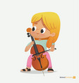 blond girl sit on chair play contrabass with joy vector image vector image