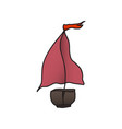 boat with a red sail drawing vector image vector image