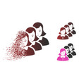 broken dot halftone woman group icon with face vector image vector image