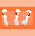 cartoon flat chef cook woman character set vector image vector image