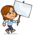 cartoon girl character with blank streamer sign vector image vector image