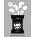 Chips with a taste of bones Snacks for scary vector image