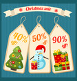 christmas sale with cardboard tags vector image