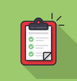 clipboard with checklist icon flat vector image vector image