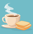 coffee and bread toast vector image