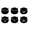 cute black cat set round face head funny cartoon vector image