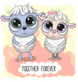 cute cartoon sheep boy and girl vector image vector image