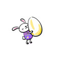 cute smiling easter bunny hugging the egg happy vector image vector image