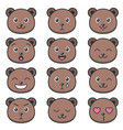 cute teddy bear faces with different emotions vector image