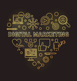 digital marketing heart golden outline vector image