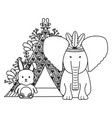 elephant with feathers hat and indian tent vector image vector image