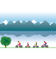 Family on bicycles Family sports vector image