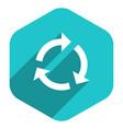 flat arrow sign repetition icon hexagon button vector image vector image