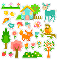forest stickers design vector image vector image