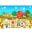 Funny farm scene with animals and farmers vector image