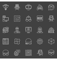 Geek line icons vector image