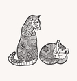 Hand drawn decorated cartoon cat and kitty vector image