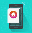 home house notice online message on mobile phone vector image vector image