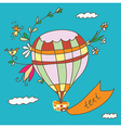 Hot air balloon greeting card funny vector image