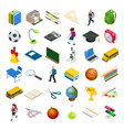 isometric education icons set back to school vector image vector image