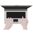 laptop and hands typing vector image