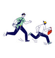 male police officer at work catching up pickpocket vector image vector image