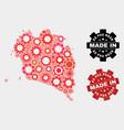 mosaic ko pha ngan map gearwheel items and vector image vector image