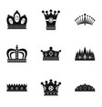 nobility crown icon set simple style vector image vector image