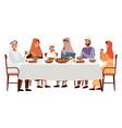 people are eating kosher food outside muslim vector image vector image