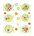 Plates with fruits berries and vegetables vector image