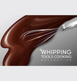 realistic cream whipping process concept vector image