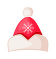 santa claus hat with snowflake in center isolated vector image vector image