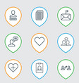 set of 9 communication icons includes follow vector image vector image