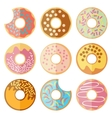set of donut isolated on a white background vector image vector image