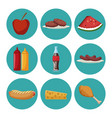 set of picnic food vector image vector image